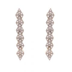 Sparkling Pave Prong Set Dangling Drop Design Diamond Earrings