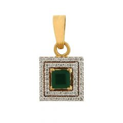 Glittering Pave Prong Set Square Design Synthetic Emerald Studded Diamond Pendant