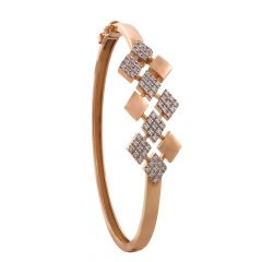 Sparkling Pave Prong Set Geometric Design Rose Gold Diamond Bracelet