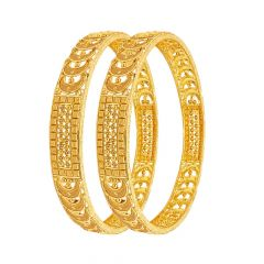 Classy Textured Embossed Bead Gold Bangle (Set Of Two)