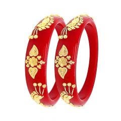 Ceremonial Embossed Floral Leaf Synthetic Pola Gold Bangles (Set Of Two)