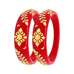 Classical Embossed Leaf Floral Synthetic Pola Gold Bangles (Set Of Two)