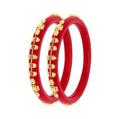 Traditional Embossed Floral Pola Gold Bangle (Set Of Two)