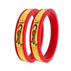 Traditional Enamel Peacock Embossed Synthetic Pola Bangles (Set Of Two)