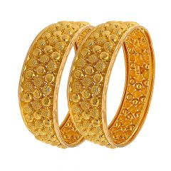 Traditional Textured Embossed Gold Bangle (Set Of Two)