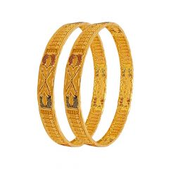 Classy Traditional Embossed Gold Bangle (Set Of Two)