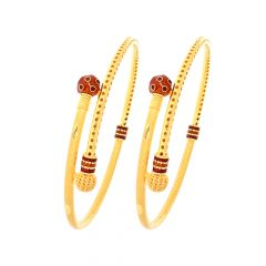 Traditional Textured Enamel Bypass Gold Bangle (Set Of Two)