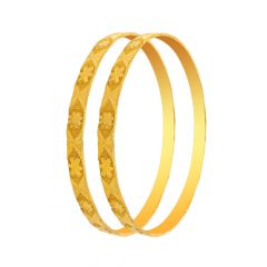 Traditional Textured Floral Handmade Gold Bangle (Set Of Two)