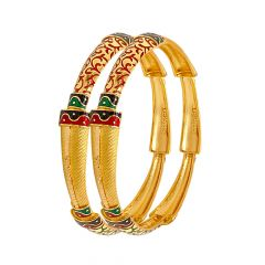 Classy Enamel Textured Gold Bangle (Set of Two)