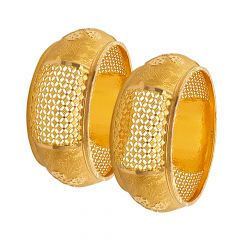 Ceremoinal Textured Cutout Gold Bangle (Set Of Two)