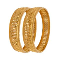 Classical Embossed Gold Bead Bangle (Set Of Two)