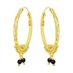 Traditional Textured Embossed Bead Gemstone Gold Earrings