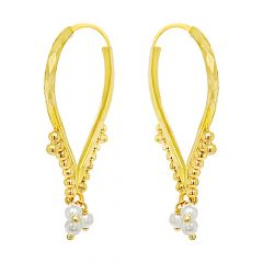 Classy Traditional Synthetic Pearl Hoop Gold Earrings