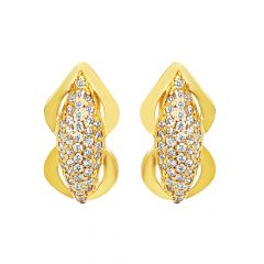 Glitz Cluster CZ Diamond Hoop Gold Earrings