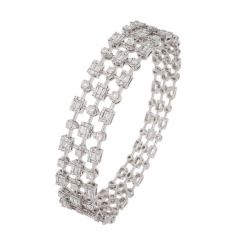 Sparkling Three Lined Openable Diamond Bangle Barcelet-BRA285-8045-8618-001