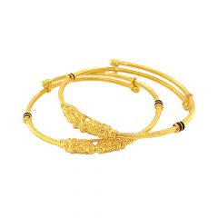 Elegant Enamel Adjustabled Gold Kada For Infant