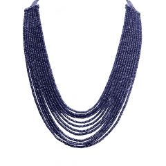 Natural 802 Carat Faceted Blue Sapphire Bead Multistrand Gemstone Necklace
