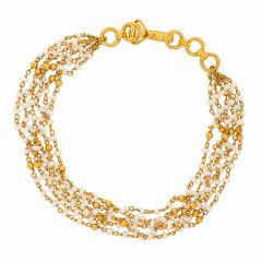 Glossy Finish Jhumbled Links With Synthetic Pearl Flexiable Gold Bracelet