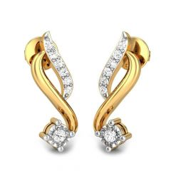 Glittering Miracle Plate Curved Gold Diamond Earrings