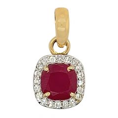 Glittering Halo Design Studded With Synthetic Colour Stone Diamond Pendant