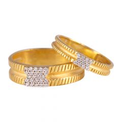 22kt Gold Cubic Engrave Couple Band CZ Ring Set - CB FR3764-FR5823