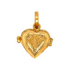 Fluffy Texuted Openable Heart Gold Pendant
