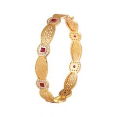 Filigree Textured Design CZ With Red Stone Studded Gold Bangle-CD-212443