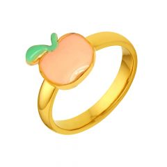 Elegant Enamel Apple Gold Ring For Her