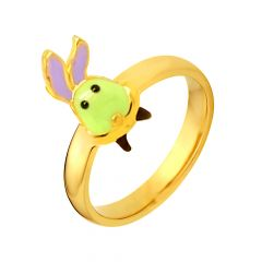 Delicate Enamel Bunny Gold Ring For Her