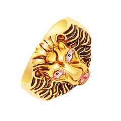 Traditional Lion Face Enamel Gold Ring