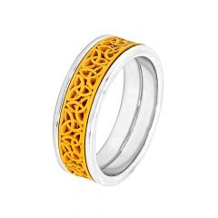 Elegant Rhodium Polish Cutout Gold Ring