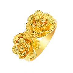 Blooming Textured Floral Gold Ring