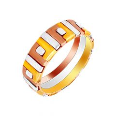 Delightful Rhodium Polish Two Tone Gold Band
