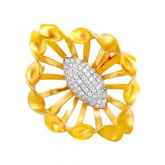 Blooming Cutout Floral CZ Gold Ring