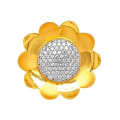 Blooming Cluster Floral CZ Gold Ring