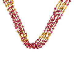 Glossy Finish Jumbled Synthetic Ruby Linked Gold Necklace