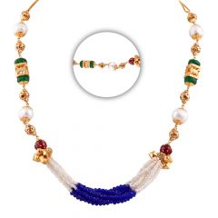 Elegant Synthetic Blue Sapphire Emerald With Ruby Multilayer Pearl String - CHN343