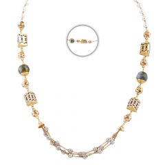 Glittering Diamond Cut Multilayer With Synthetic Pearls And Quartz Gold Chains - CHN347