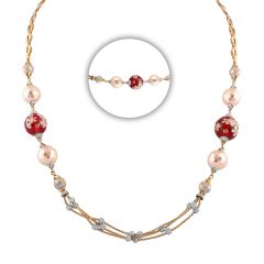 Glossy Glittering Synthetic Ruby Enamel With Pearl Diamond Cut Gold Ball Beads Multilayer Gold Chain - CHN348