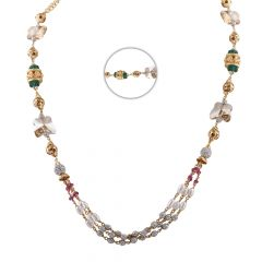 Glossy Diamond Cut Finish Synthetic Pearl Ruby Emerald Stone Studded Gold Necklace- CHN352