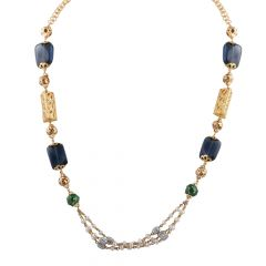Glossy Finish Synthetic Blue Sapphire With Pearl Beads Gold Necklace- CHN357