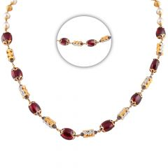 Elegant Sparkling Synthetic Ruby With Pearl Diamond Cut Gold Chain - CHN97