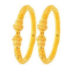 Traditional Engraved Textured Gold Kada (Set of Two)