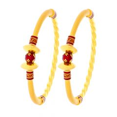 Unique Traditional Enamel Twist Gold Kada (Set Of Two)