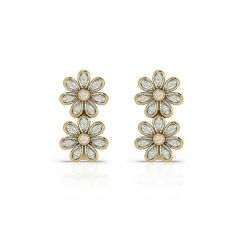 Blossom Floral Hoop Diamond  Earrings