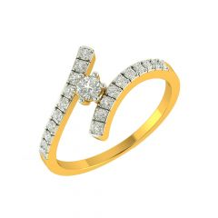 Glitz Crisscross Diamond Gold Ring