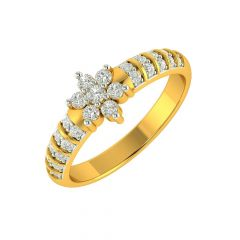 Dazzling Floral Diamond Gold Ring