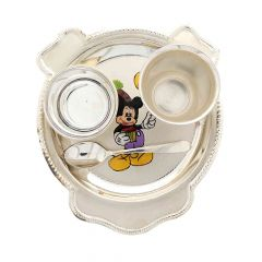 Silver Mickey Mouse Design Baby Utensil Set