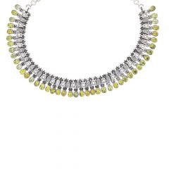 Glossy Oxidized Finish Textured Link Drop Kundan Design Silver Necklace