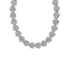 Glossy Oxidized Finish Floral Studded With Synthetic Marcasite Design Silver Necklace